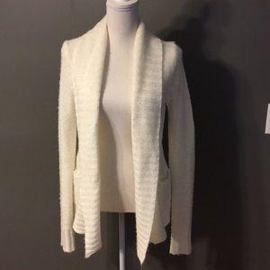 White fuzzy cardigan